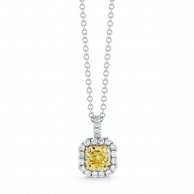 Fancy Yellow Radiant Cut Halo Diamond Pendant