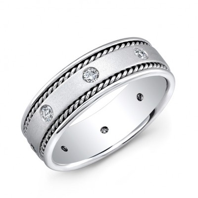 14k White Gold Bezel Set White Diamond Milgrain Mens Wedding Band