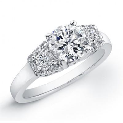 18k White Gold Modern Three Stone Diamond Semi Mount