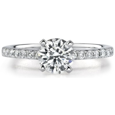 14k White Gold Diamond Engagement Semi Mount with Side Stones