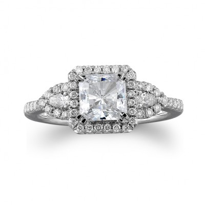 18k White Gold Three Stone Diamond Semi Mount