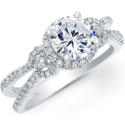 18k White Gold Three Stone Diamond Halo Engagement Ring