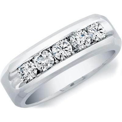14k White Gold Mens Channel Set Diamond Ring