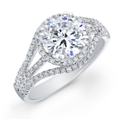 Diamond Halo Semi-Mount Engagement Ring
