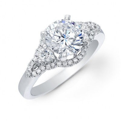 14k White Gold Shimmering Three Stone Diamond Semi Mount