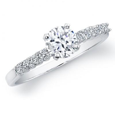 18k White Gold Diamond Prong Semi Mount