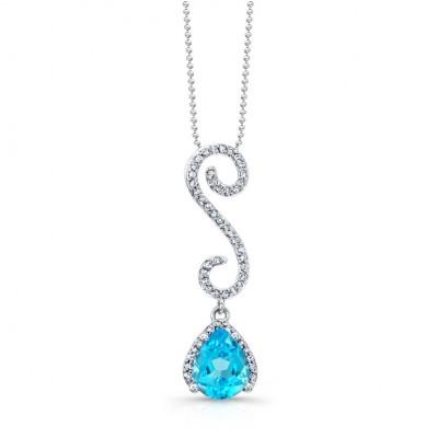 14k White Gold Blue Topaz Diamond Swirl Pendant