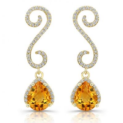 14k Yellow Gold Diamond Citrine Earrings