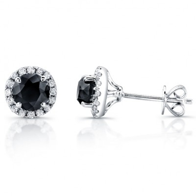 14k White Gold 1 3/4ct twt Black and White Diamond Halo Stud Earrings