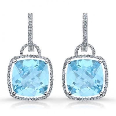 14k White Gold Blue Topaz Fashion Earrings