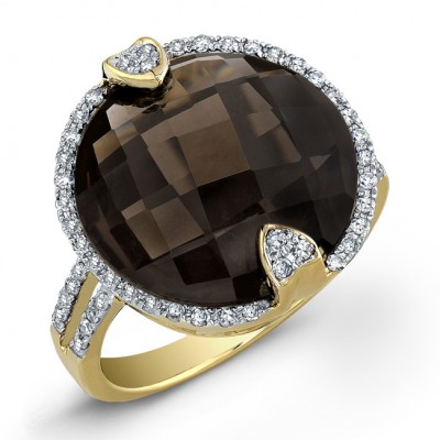 14k Yellow Gold Smokey Quartz Fashion Ring