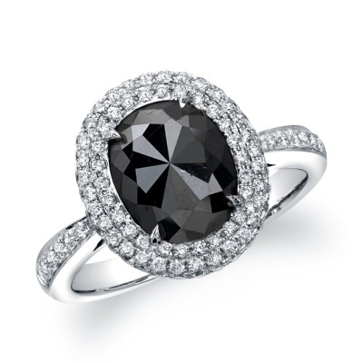 18k White Gold Oval Shaped Black Diamond Ring