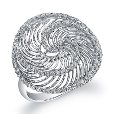 14k White Gold Diamond Wire Whirlpool Ring