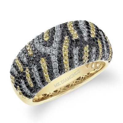 14k Yellow Gold Diamond Zebra Print Band