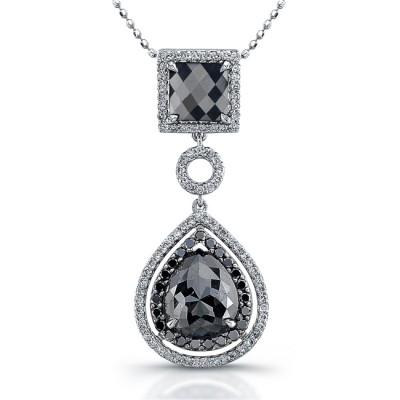 18k White Gold Black Diamond Square Drop Pendant