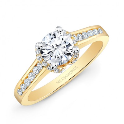 14k Yellow Gold Channel Set Diamond Shank Split Diamond Halo Engagement Ring