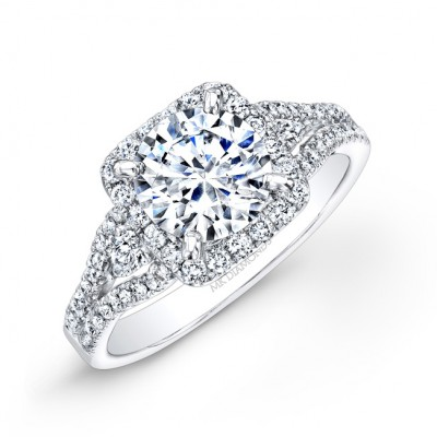 14k White Gold White Diamond Square Halo Engagement ring