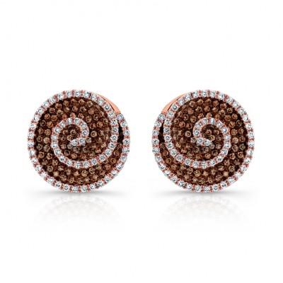 18k Rose and Black Gold Brown Diamond Swirl Earrings