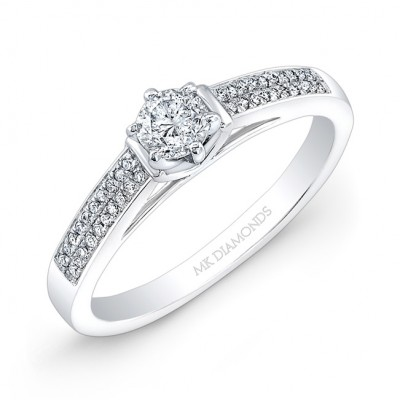 14k White Gold Six Prong Center Mounting White Diamond Engagement Ring