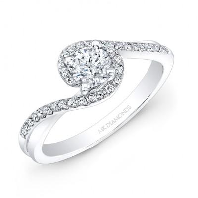 14k White Gold Diamond Swirl Engagement Ring