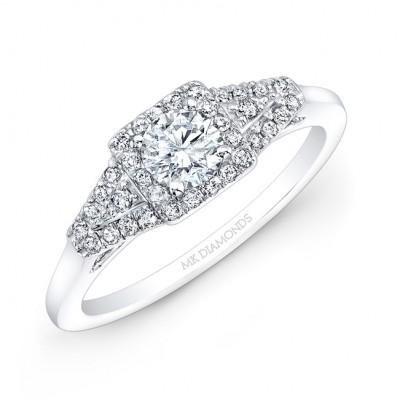 14k White Gold Square Halo Diamond Engagement Ring