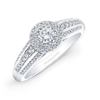14k White Gold Double Diamond Halo Engagement Ring
