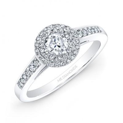 14k White Gold Double Halo Engagement Ring