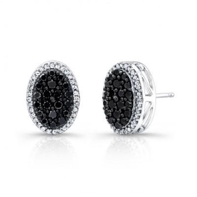 14k White and Black Gold Black and White Diamond Stud Earrings.