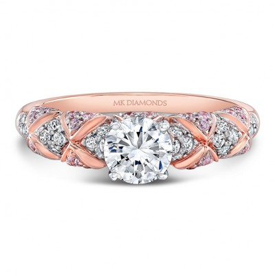 18K Rose and White Gold White and Pink Diamond Engagement Ring