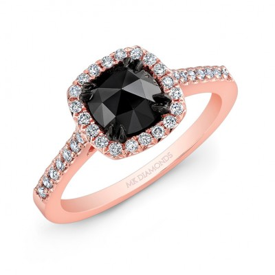 14k Rose Gold Halo Engagement Ring