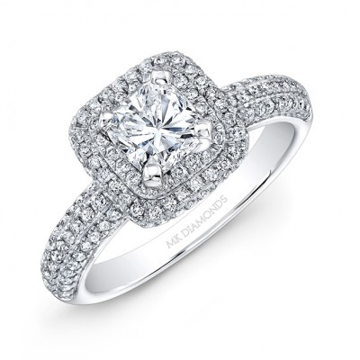 14k White Gold Square Diamond Halo Engagement Ring