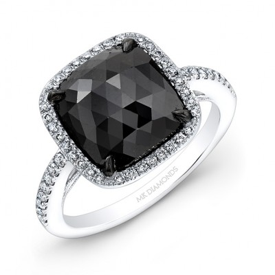 18K White and Black Gold Black Rose-Cut Diamond Engagement Ring