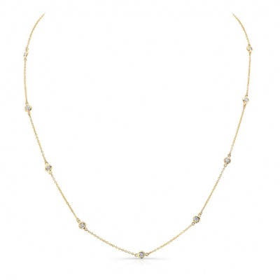 14k Yellow Gold White Diamond Bezel Set Cable Chain Necklace