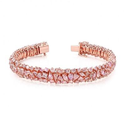 18K Rose Gold Mixed Natural Fancy Color Pink Bracelet