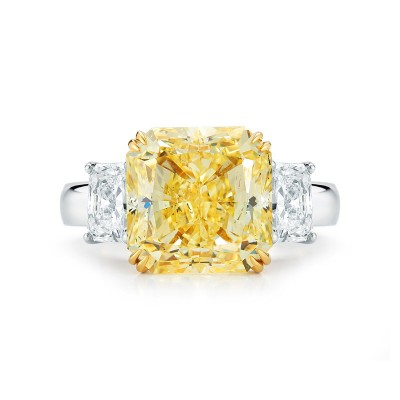3 Stone Fancy Yellow Radiant Cut Diamond Ring
