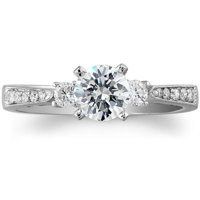14k White Gold Three Stone Petite Diamond Engagement Ring