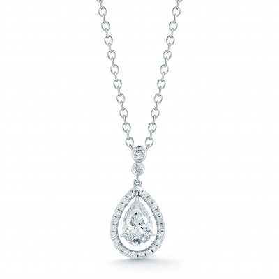 Pear Shape Halo Diamond Pendant