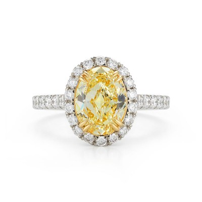 Fancy Yellow Oval Pave Halo Diamond Ring