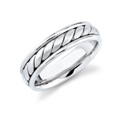 14k White Gold Mens Elegant Comfort Fit Ring With Hand Made Rope Trim