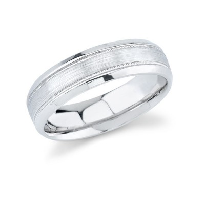14k White Gold Mens Wedding Band Comfort Fit