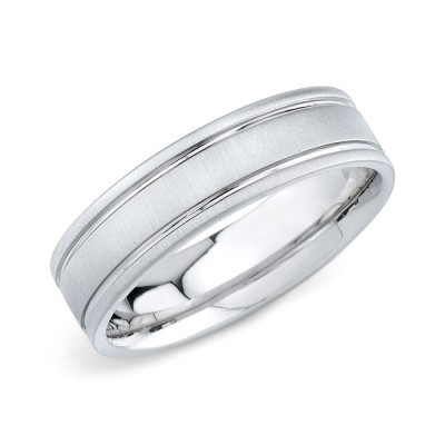 14k White Gold Mens Wedding Band Matte Finish