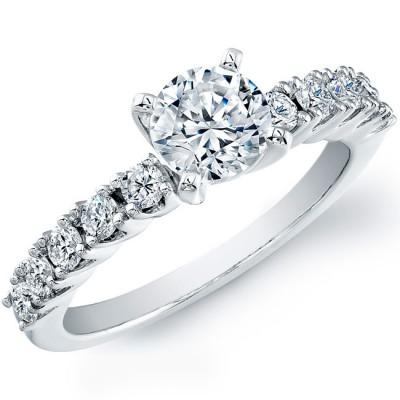 14k White Gold Classic Diamond Prong Semi Mount
