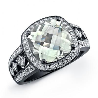 Black Sterling Silver Blue Topaz Diamond Ring