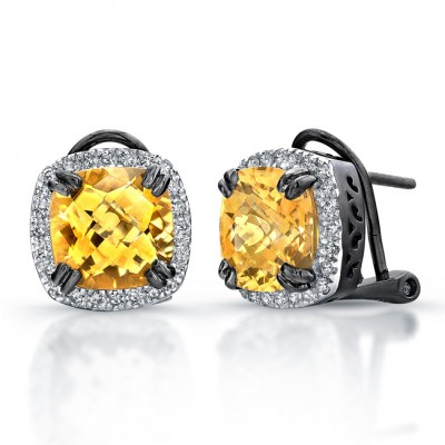 Black Sterling Silver Citrine Diamond Halo Earrings