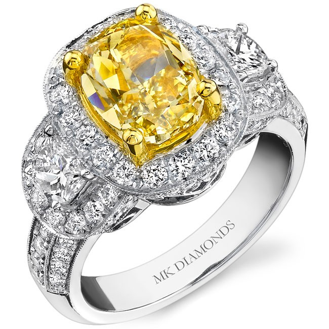 18k White and Yellow Gold Half Moon Cushion Diamond Ring