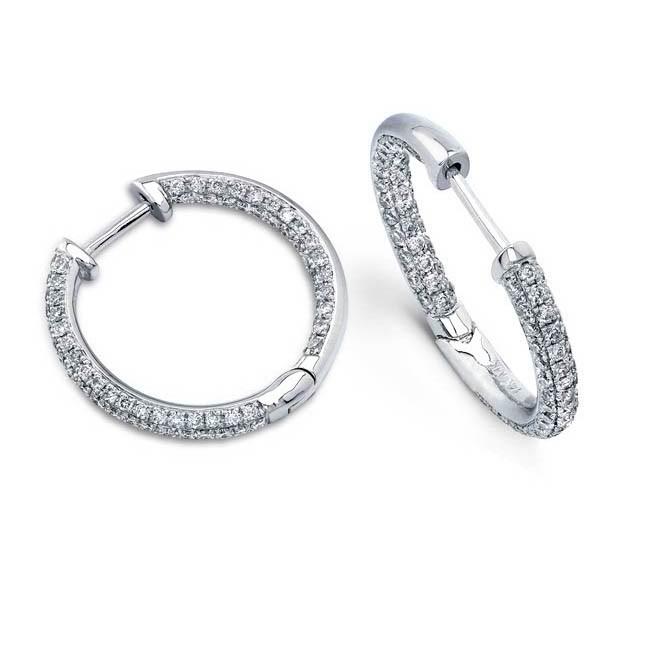 14k White Gold Pave Diamond Hoop Earrings