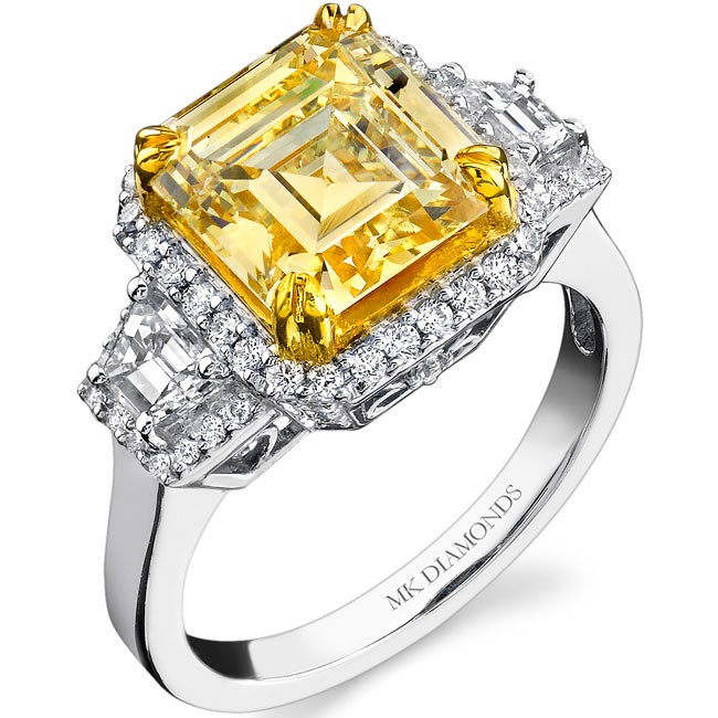 14k White and Yellow Gold Fancy Yellow Asscher Diamond Ring