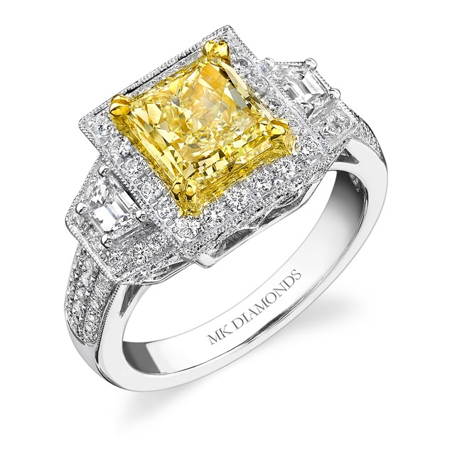 14k White and Yellow Gold Vintage Detail Fancy Yellow Diamond Ring