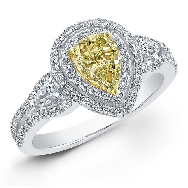 14k White and 18k Yellow Gold Fancy Yellow Pear Shaped Diamond Ring