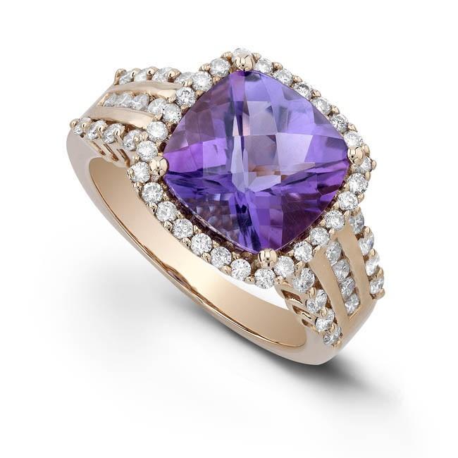 14k Rose Gold Amethyst Diamond Ring